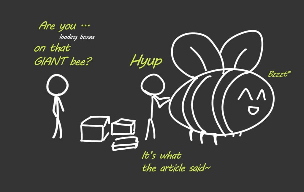 A stick figure loading boxes on a giant bee. The purpose of this picture is to create a memory image that is easy to remember.